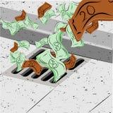 Dinheiro de jogo abaixo do dreno Imagem de Stock Royalty Free