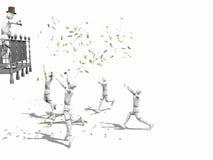 Dinheiro de jogo do homem em um balcão ilustração royalty free