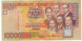 Dinheiro de papel velho Ghana da nota de banco Imagens de Stock