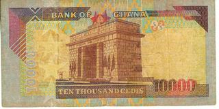 Dinheiro de papel velho Ghana da nota de banco Fotos de Stock