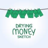 Dinheiro de secagem do vetor Fotos de Stock Royalty Free