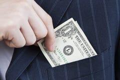 Dinheiro de um para possuir o bolso Imagens de Stock