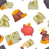 Dinheiro de USD do dinheiro, cédulas americanas do dólar e teste padrão sem emenda das moedas ilustração royalty free