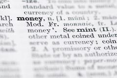 Dinheiro; Definição no dicionário inglês. Imagem de Stock