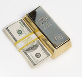 Dinheiro, dinheiro, lingote de ouro Imagem de Stock Royalty Free