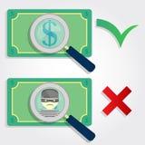 Dinheiro direito e errado ilustração royalty free
