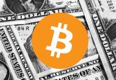 Dinheiro do ícone de Bitcoin Cryptocurrency imagens de stock
