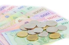 Dinheiro do baht tailandês imagens de stock