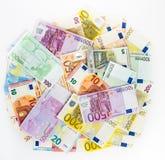Dinheiro do conceito da finança do dinheiro da cédula do Euro no fundo branco Fotos de Stock Royalty Free