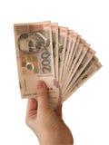 Dinheiro do croata da terra arrendada da mão Fotos de Stock