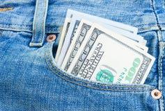 Dinheiro do dólar no bolso Imagem de Stock Royalty Free