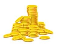 Dinheiro do dinheiro das moedas de ouro no rouleau do monte Fotos de Stock Royalty Free