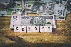 Dinheiro do empréstimo - moeda polonesa Foto de Stock