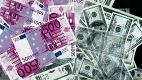 Dinheiro do euro e das notas de dólar Imagens de Stock