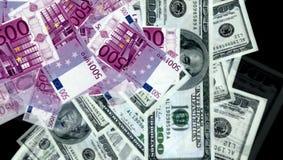 Dinheiro do euro e das notas de dólar Fotografia de Stock