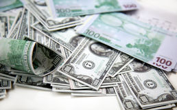 Dinheiro do euro e do dólar Foto de Stock