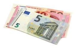 Dinheiro do Euro isolado no fundo branco Foto de Stock