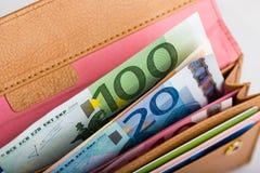 Dinheiro do Euro na carteira Foto de Stock