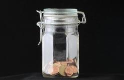 Dinheiro do Euro no vidro Fotos de Stock Royalty Free