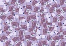 dinheiro do fundo do dinheiro do euro 500 Pena, eyeglasses e gráficos Economia dos ricos do sucesso do conceito Imagens de Stock Royalty Free