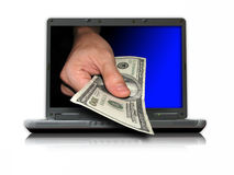 Dinheiro do Internet Fotos de Stock Royalty Free