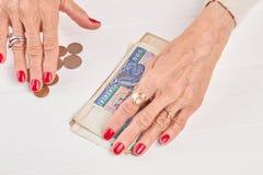 Dinheiro do kyat e mãos caucasianos da mulher de negócios Foto de Stock