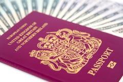 Dinheiro do passaporte Imagens de Stock