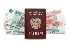 Dinheiro do passaporte e do russo fotografia de stock