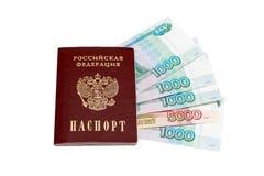 Dinheiro do passaporte e do russo fotos de stock