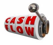 Dinheiro do rendimento da renda do aumento das rodas do slot machine do fluxo de caixa Imagens de Stock Royalty Free