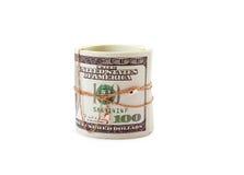 Dinheiro do rolo entwisted pelo ouro Fotos de Stock Royalty Free
