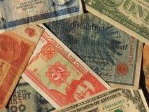 dinheiro do vintage de países e de notas comunistas do dólar imagens de stock