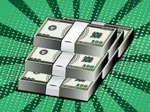 Dinheiro dos desenhos animados, dólares do empacotamento das cédulas estilo do pop art Fotos de Stock Royalty Free