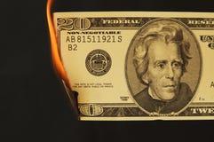 Dinheiro dos E.U. no fogo imagem de stock