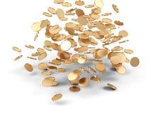 Dinheiro dourado de queda. Imagens de Stock