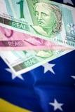Dinheiro e bandeira de Brasil Imagem de Stock