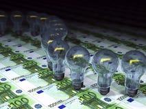 dinheiro e bulbos do conceito 3d Foto de Stock Royalty Free