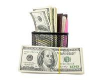 Dinheiro e caderno Fotografia de Stock Royalty Free