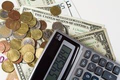 Dinheiro e calculadora americanos Imagens de Stock