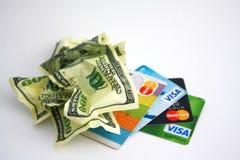 Dinheiro e cartões Fotografia de Stock Royalty Free