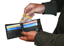 Dinheiro e cartões na carteira fotos de stock
