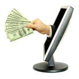 Dinheiro e computador Imagem de Stock