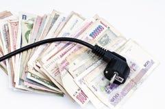 Dinheiro e eletricidade foto de stock royalty free