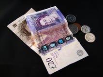 Dinheiro e euro britânicos Imagem de Stock