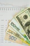 Dinheiro e gráfico Fotografia de Stock Royalty Free