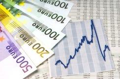 Dinheiro e gráfico Imagens de Stock Royalty Free