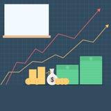 Dinheiro e gráfico de aumentação das setas Foto de Stock