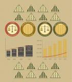 Dinheiro e moedas do infographics do vintage Fotografia de Stock Royalty Free