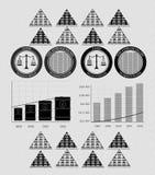 Dinheiro e moedas do infographics do vintage Imagens de Stock