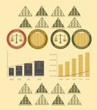 Dinheiro e moedas do infographics do vintage Foto de Stock Royalty Free